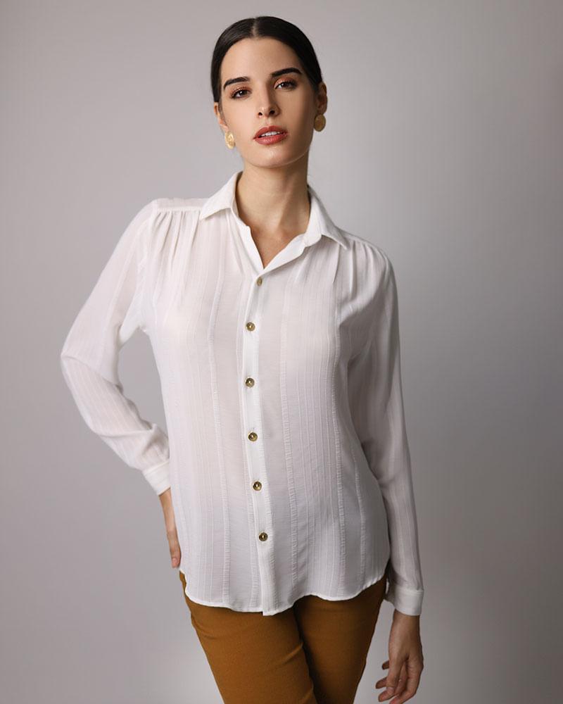 2a28db406 Camisa Long Line Tecido Texturizado Manga Longa Ombro Franzido Off White -  lojabluk