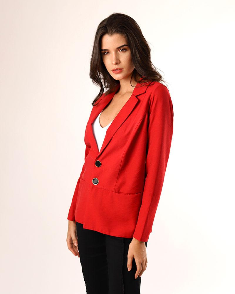 c7aa517a17 Blazer Tecido Frente Bolsos e Mangas com Ziper Vermelho - lojabluk