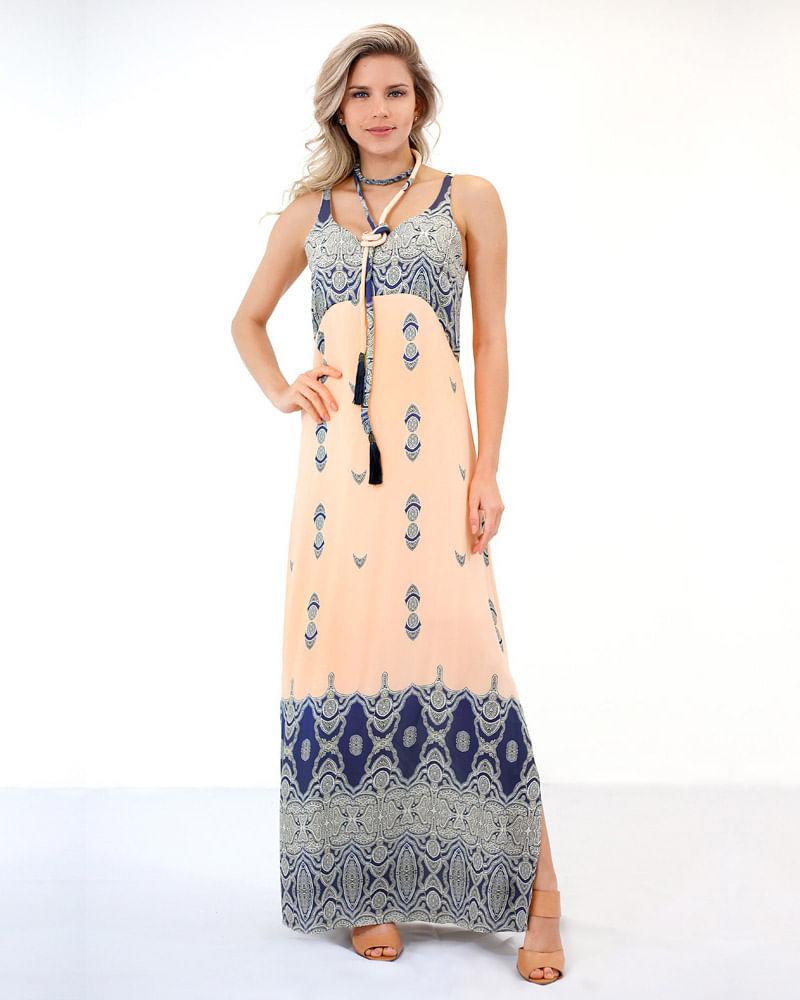 d900228b13 Vestido Longo Crepe Estampado com Cinto Estampado - lojabluk