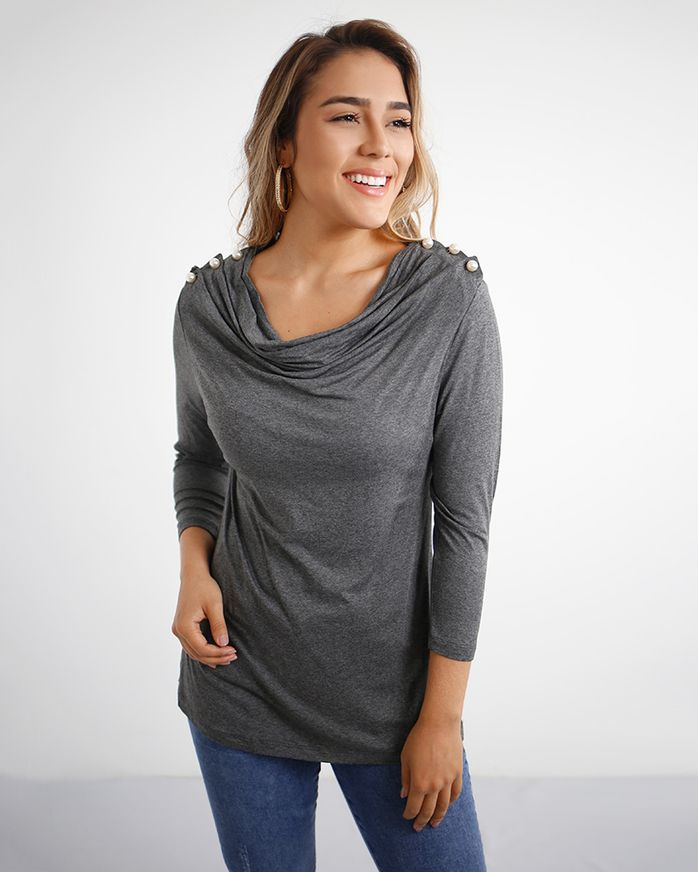 Blusa-Malha-Ombro-Com-Perolas-Decote-Drape-Mescla
