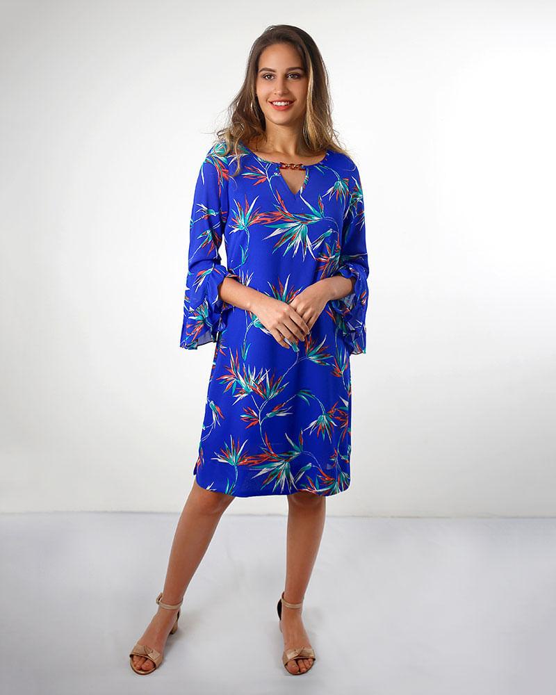 Vestido Crepe Estampado Mangas Flare Com Babados Azul