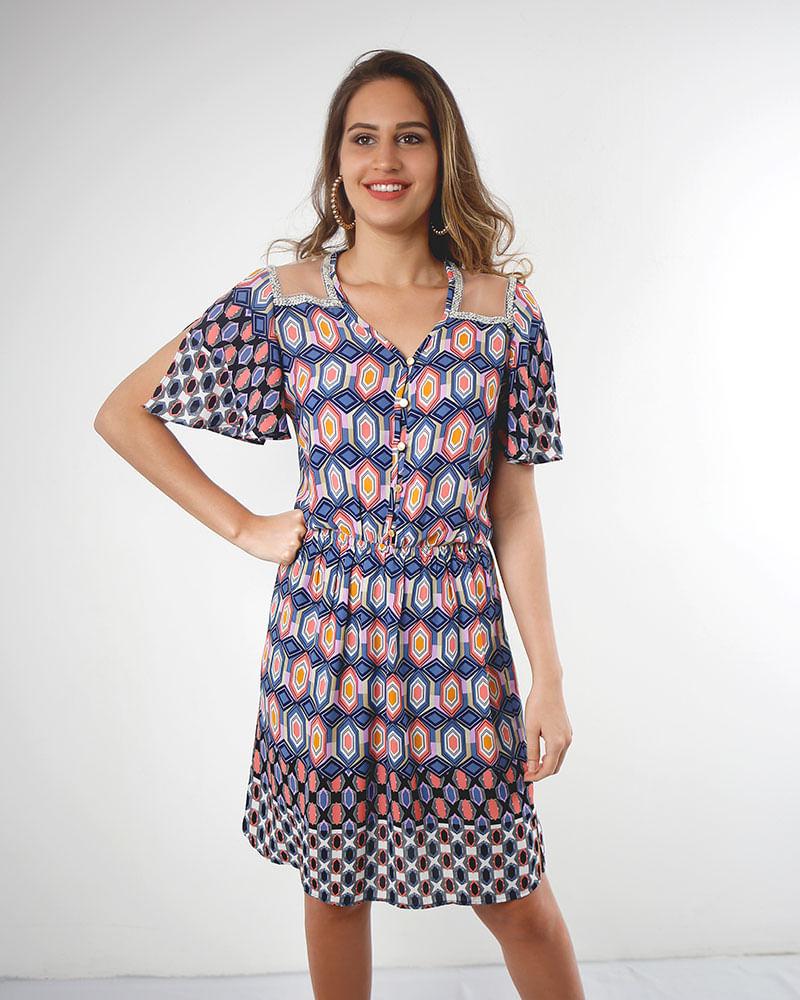 6be27d02d1 Vestido Crepe Estampado com Tule Mangas Flare Estampado - lojabluk