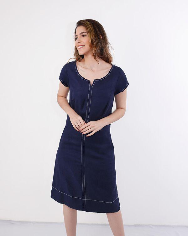 Vestido-Linho-com-Mangas-Pespontos-Contrastantes-Azul-