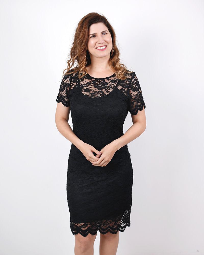 Vestido Renda Manga Curta Preto