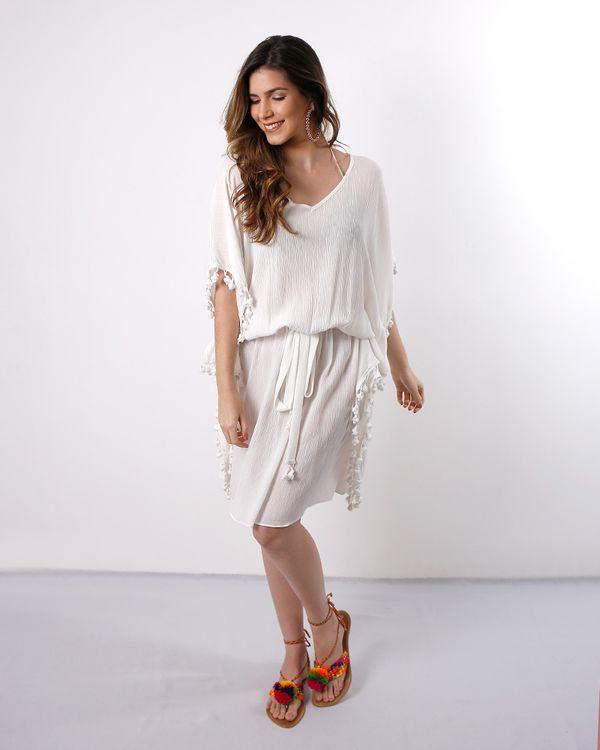 Vestido-Caftan-Crepe-Beach-Wear-com-Galao-Pingente-Off-White