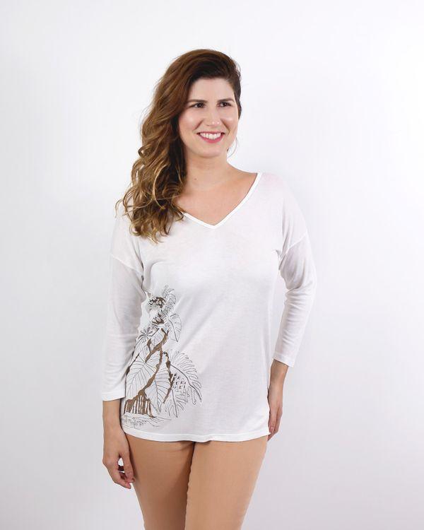 Blusa-Tricot-Decote-V-com-Silk-Folhas-Metalic-Off-White