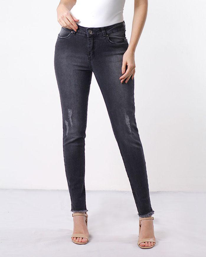 Calca-Jeans-Destroyer-Skinny-Bainha-Desfiada-Preto-