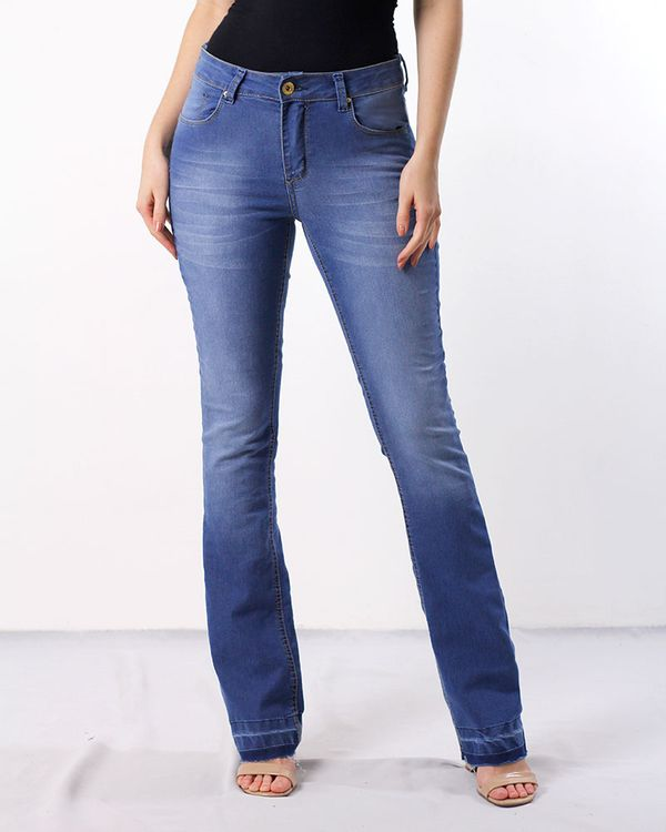 Calca-Jeans-Boot-Cut-Bainha-Desfiada-Azul-