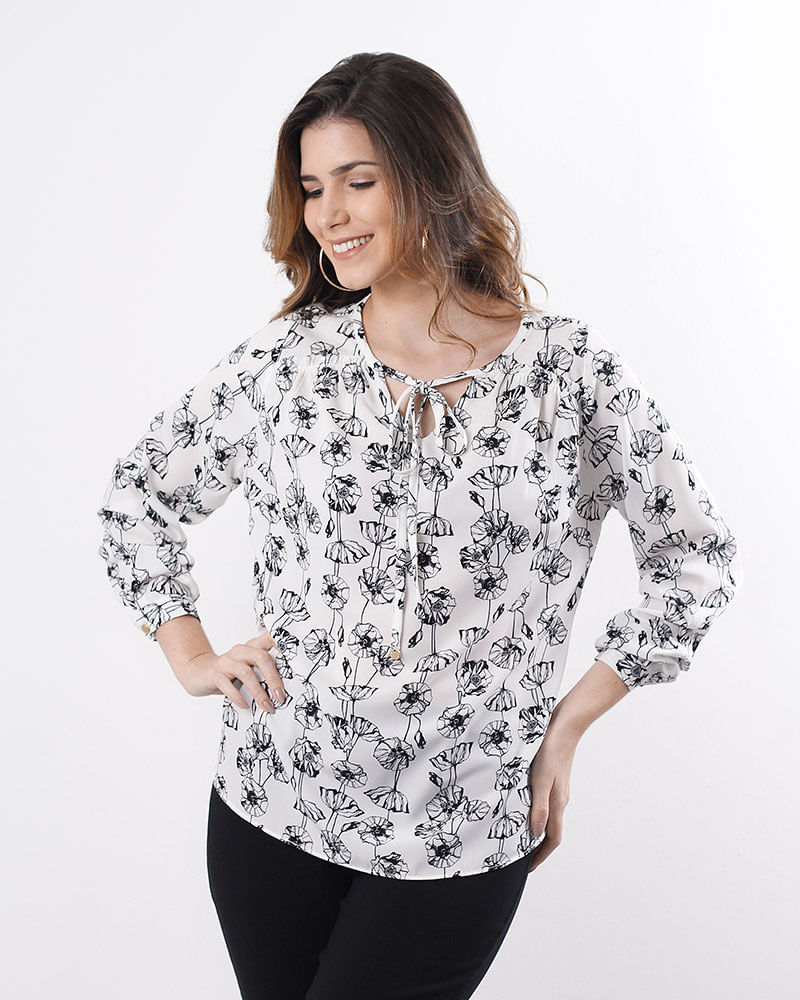 228b1a4f789d4 ... Blusa-Tecido-Estampado-Manga-Longa-Off-White. Blusas e camisas