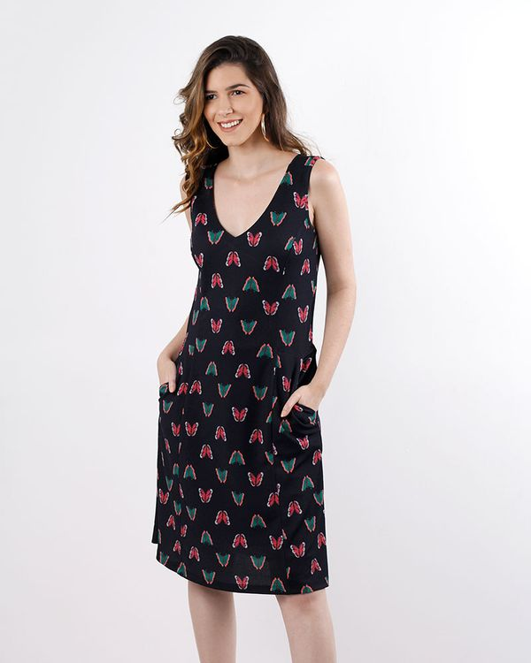 Vestido-Crepe-de-Malha-Estampa-Borboletas-Costas-com-Transpasse-Preto-
