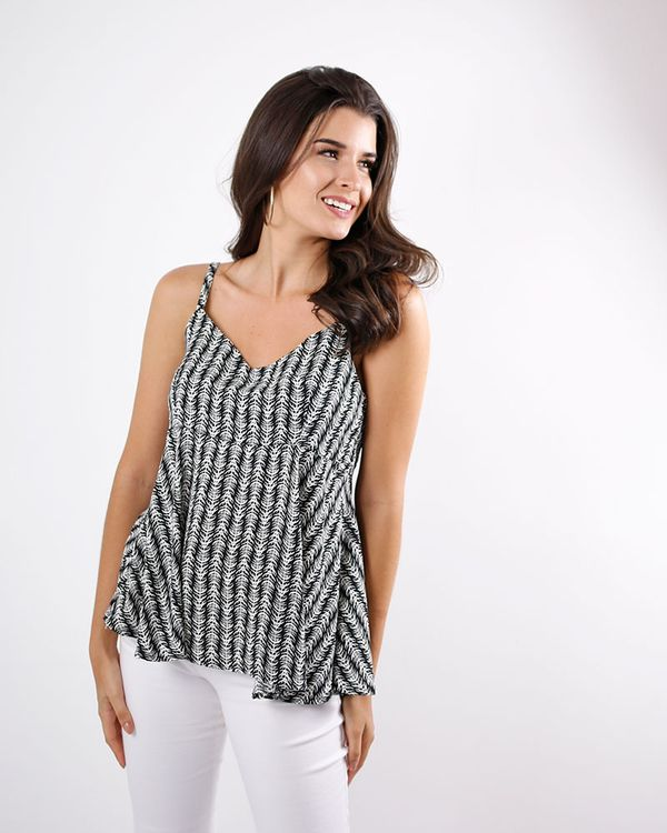 Blusa-Crepe-Estampado-Alca-Regulavel-com-Amarracao-Preto