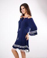 Vestido-Crepe-Beach-Wear-Ombro-Vazado-com-Galao-Pingente-Marinho