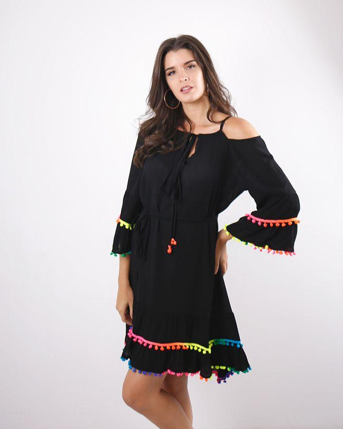 Vestido-Crepe-Beach-Wear-Ombro-Vazado-com-Galao-Pingente-Preto