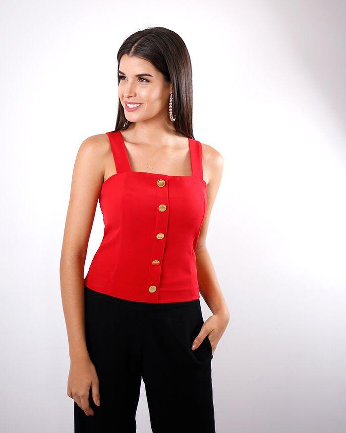 Blusa-Cropped-Tecido-de-Alcas-Frente-com-Botoes-e-Lastex-Costas-Vermelho-