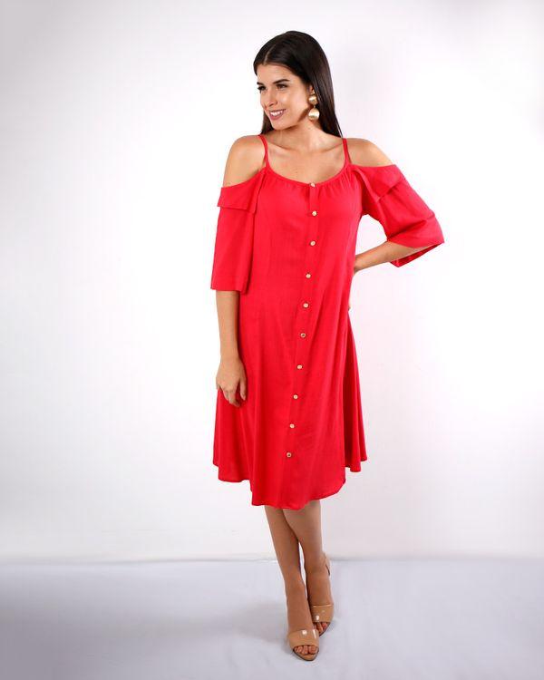 Vestido-Viscose-Ombro-Vazado-com-Botoes-Vermelho-
