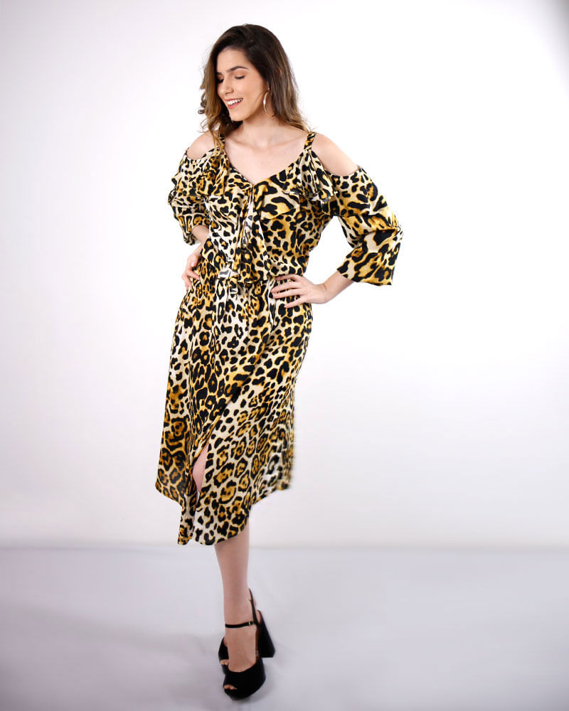 Vestido Viscose Estampa Animal Print Ombro Vazado Estampado - lojabluk 74a1669112d