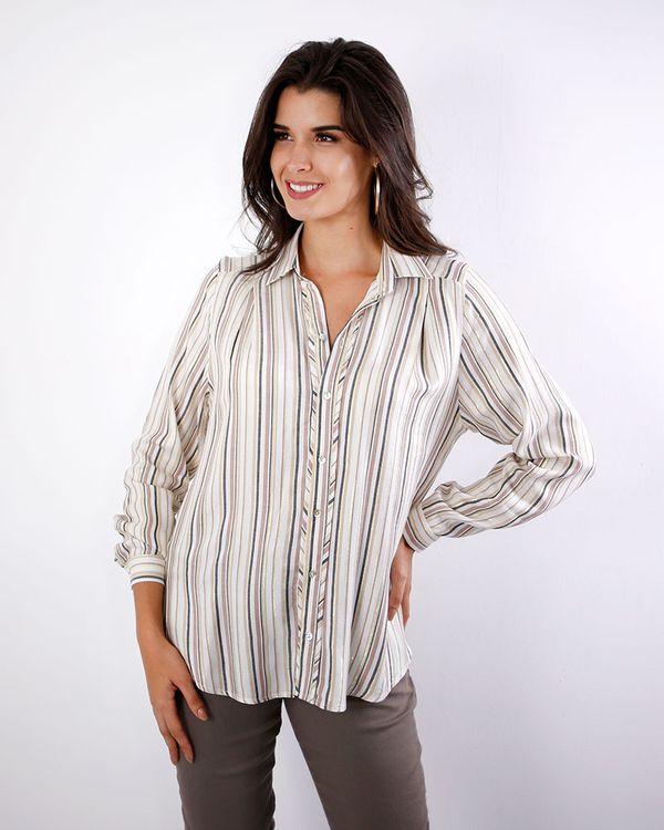 Camisa-Viscose-Listras-Fio-Metalic-com-Pregas-No-Ombro-Caqui