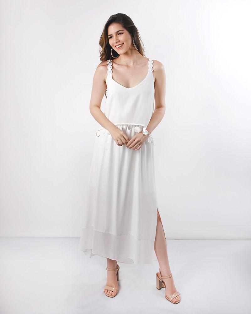 Vestido Longo Tecido Alças Com Pérolas Off White