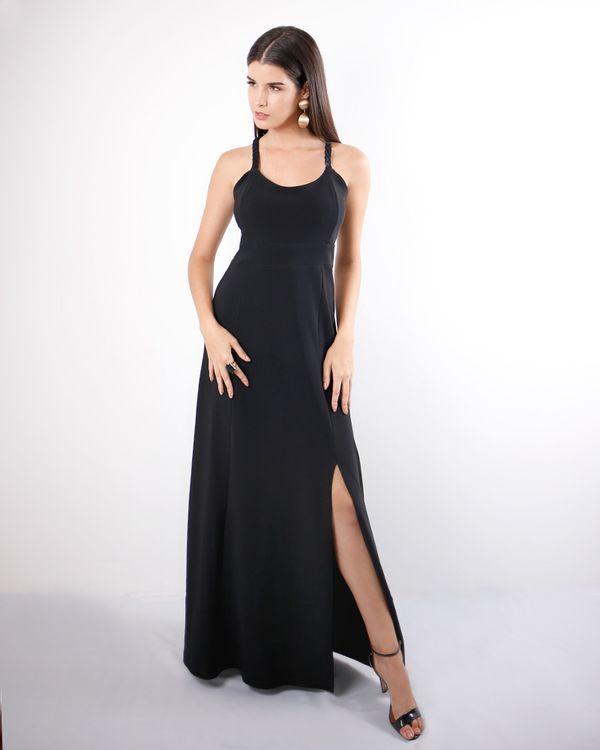 Vestido-Longo-Malha-Crepe-com-Fenda-e-Trancado-Costas-Preto-