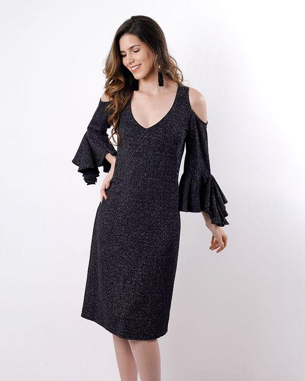 Vestido-Malha-Lurex-Ombro-Vazado-Mangas-com-Babados-Preto