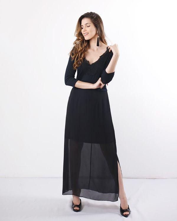 Vestido-Longo-Chiffon-com-Manga-e-Renda-Preto
