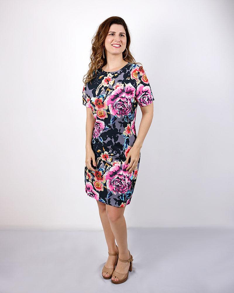 c5c5b4809 Vestido Crepe Estampa Floral Manga Curta Estampado - lojabluk
