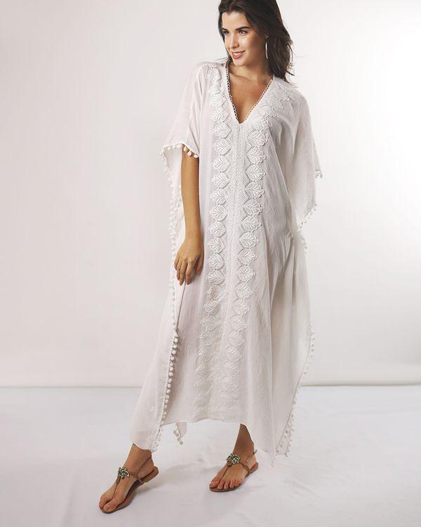 Caftan-Longa-Tecido-com-Guipir-Frente-e-Pompom-Off-White