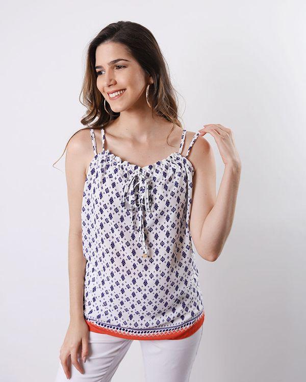 Blusa-Crepe-Estampado-Decote-com-Franzidos-Azul