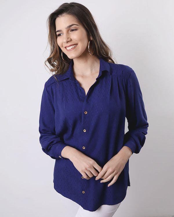 Camisa-Viscose-Maquinetado-com-Pregas-Azul-