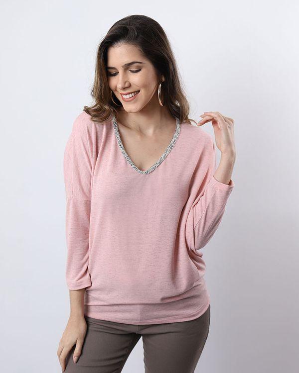 Blusa-Bolha-Malha-Mescla-Decote-com-Aplicacao-Fio-Metalic-Rosa-