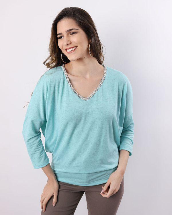 Blusa-Bolha-Malha-Mescla-Decote-com-Aplicacao-Fio-Metalic-Verde