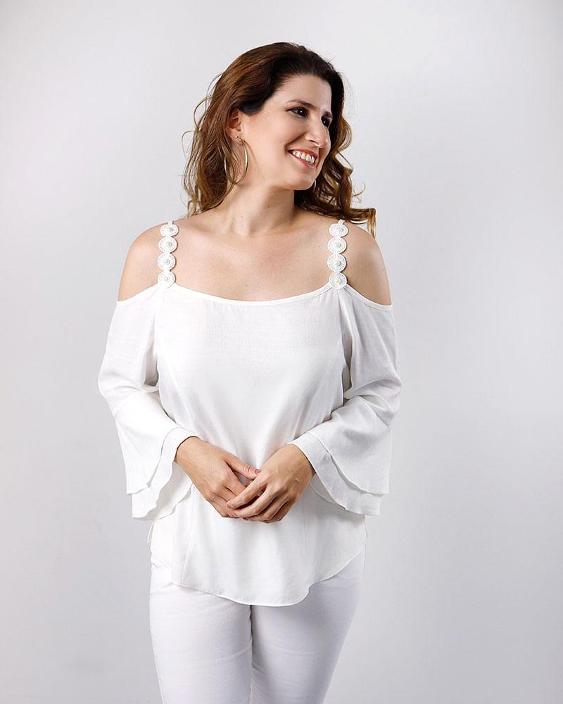 6fb46d045d Blusa Tecido Ombro Vazado Alça Pérolas Bordada Off White - lojabluk