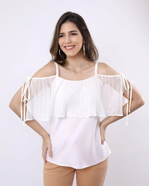Blusa-Crepe-Ombro-Vazado-Babado-Frente-com-Tule-Off-White