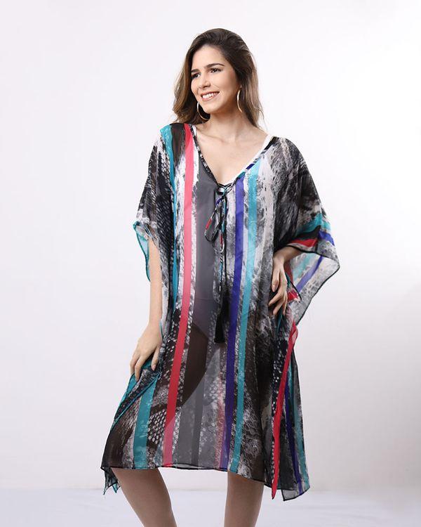 Vestido-Caftan-Tecido-Estampado-com-Pingente-Azul-