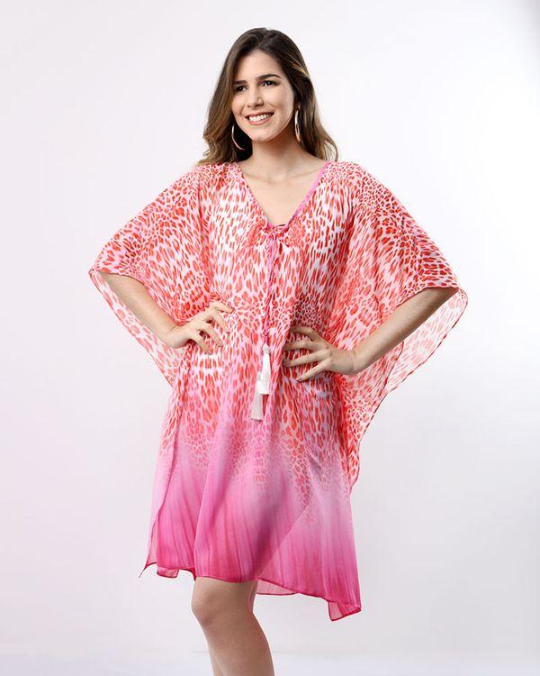 Vestido-Caftan-Tecido-Estampado-com-Pingente-Vermelho