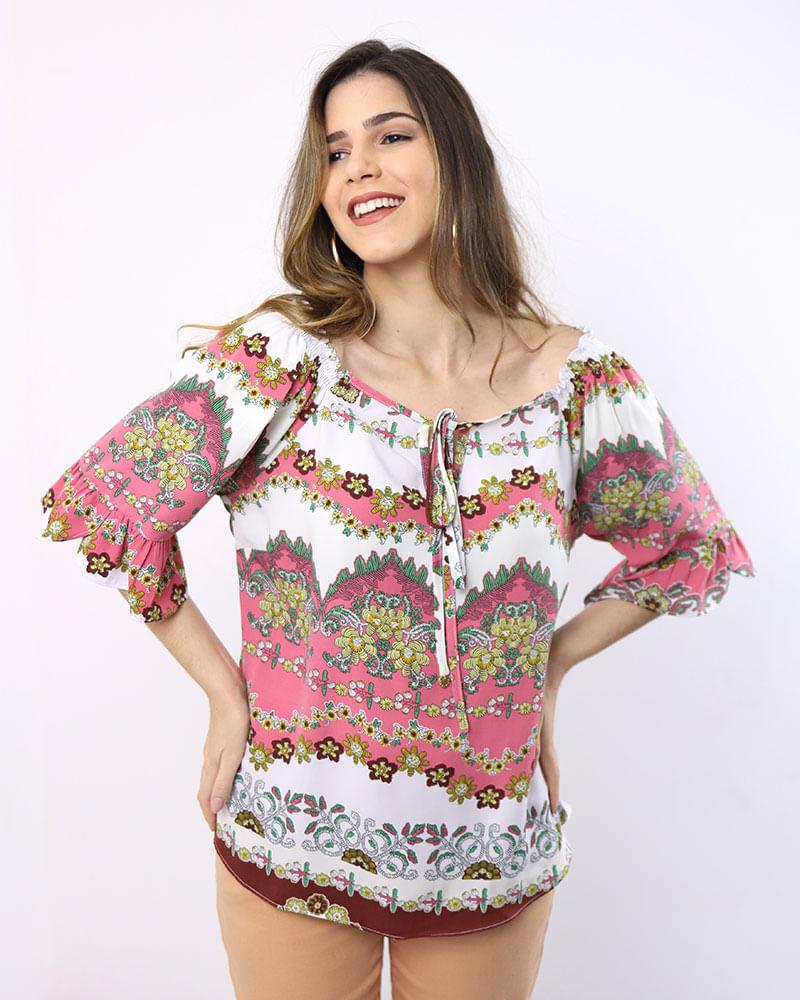 ef1421042fad7 Blusa Tecido Estampado Manga Curta com Babado Rosa Flamingo - lojabluk