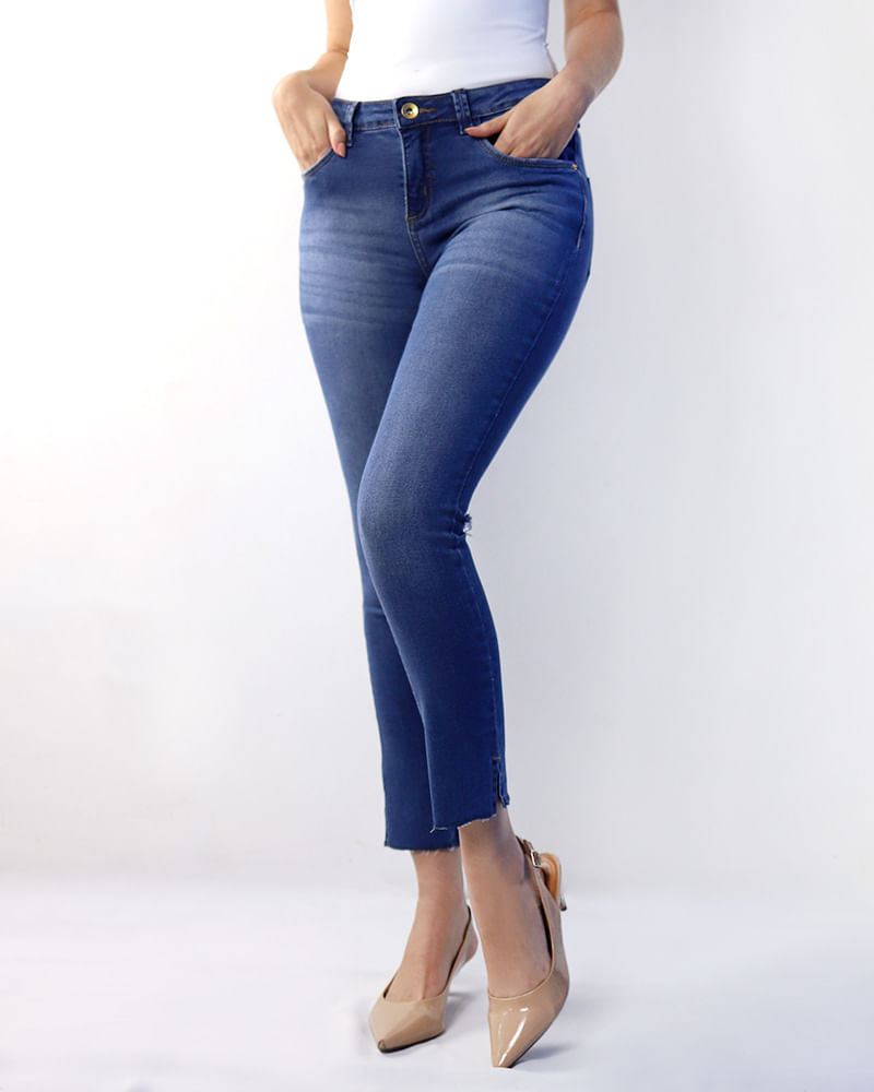 Calça Jeans Skinny Corte Destroyer Perna Costas Azul - lojabluk 1a3e007a383