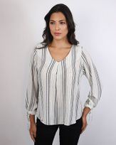 Blusa-Tecido-Listras-Decote-V-com-Pregas-e-Punhos-com-Lacos-Off-White