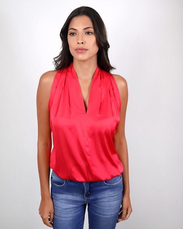 Blusa-Tecido-Acetinado-Balone-Decote-V.Ombro-com-Pregas-Rosa