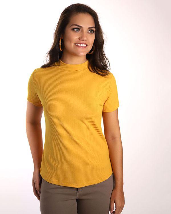 Blusa-Malha-Canelada-Manga-Curta-Amarelo