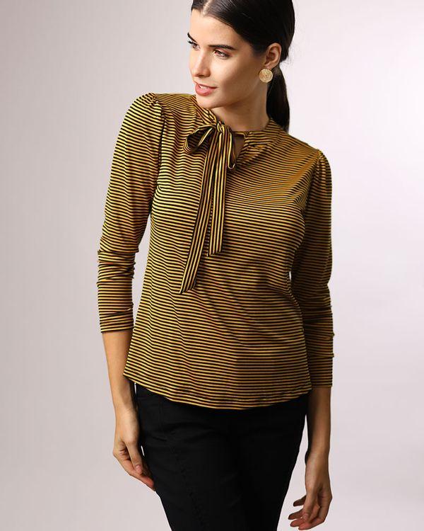 Blusa-Malha-Listras-Decote-com-Amarracao-Amarelo