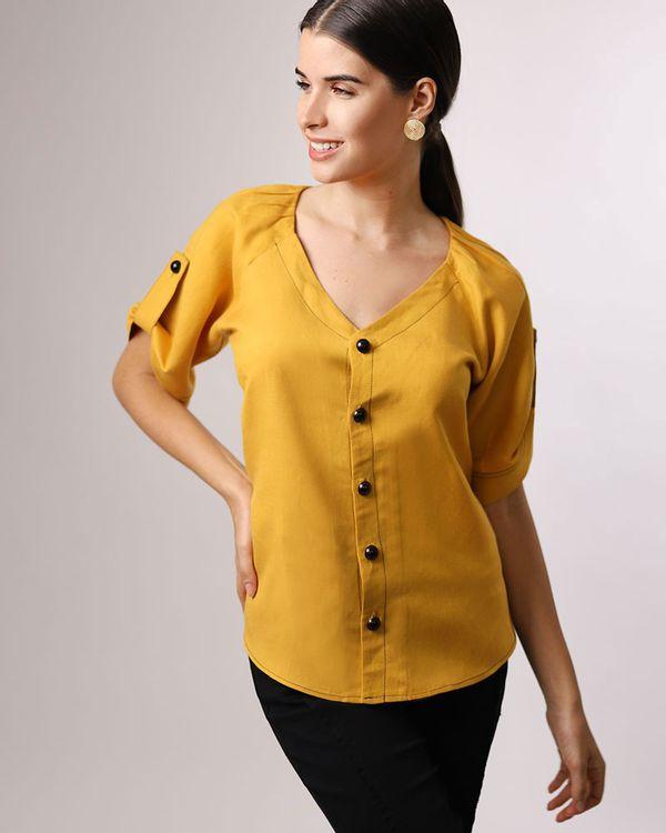 Blusa-Linho-com-Botoes-e-Pespontos-Contrastante-Amarelo