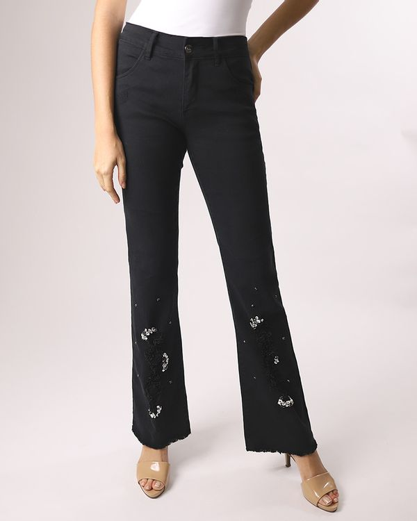 Calca-Boot-Cut-Jeans-Destroyer-Bordado-com-Strass-Preto