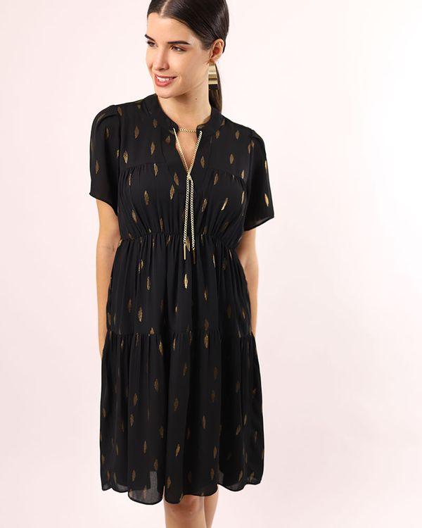 Vestido-Tecido-com-Foil-Decote-Corrente-Destacavel-Preto
