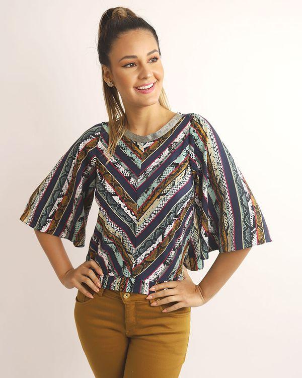 Blusa-Tecido-Estampado-Decote-com-Galao-Metalic-Verde