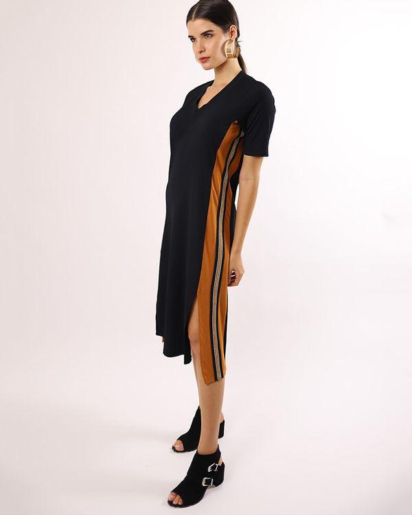 Vestido-Midi-Bicolor-Malha-Canelado-Laterais-com-Galao-Ocre-