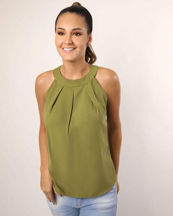 Blusa-Super-Cava-Tecido-Decote-com-Pregas-Verde