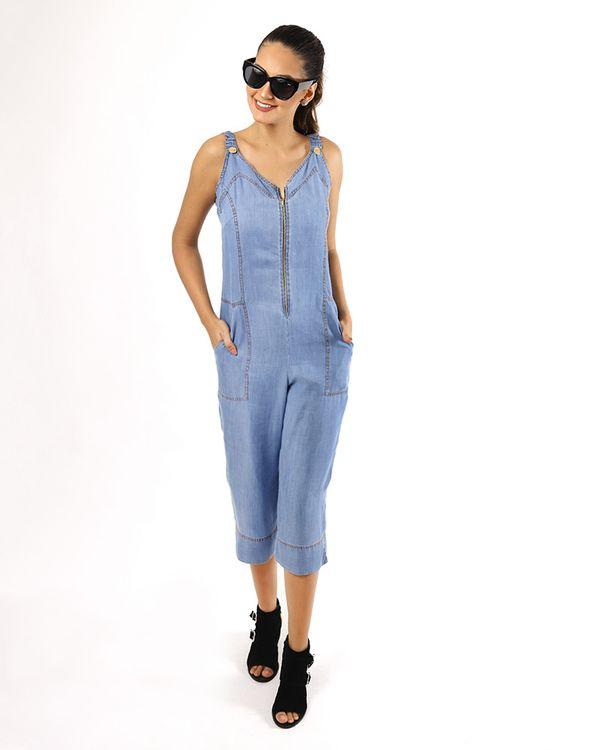 Macacao-Pantacourt-Jeans-Frente-Ziper-Metal-com-Pespontos-Contrastante-Delave-
