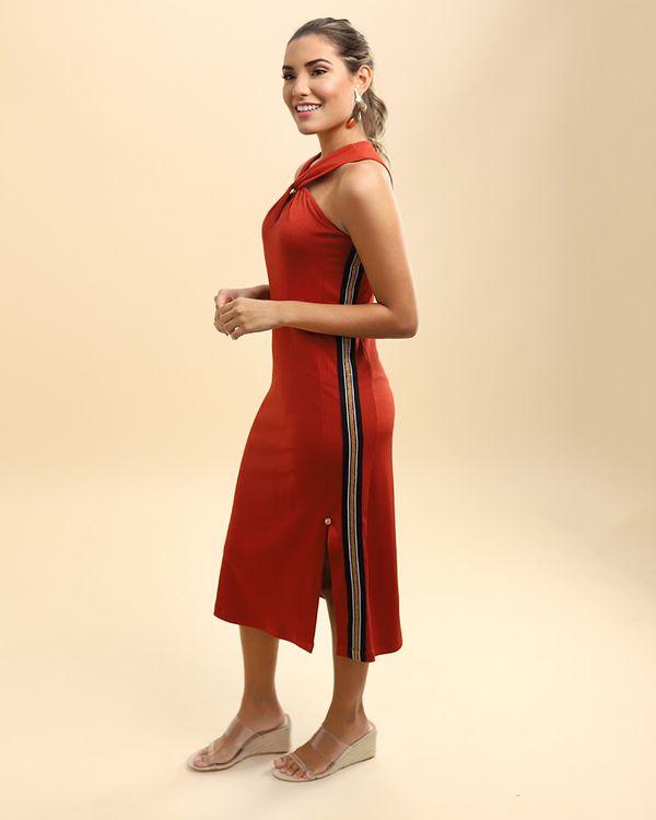 Vestido-Midi-Canelado-Decote-Torcido-Telha