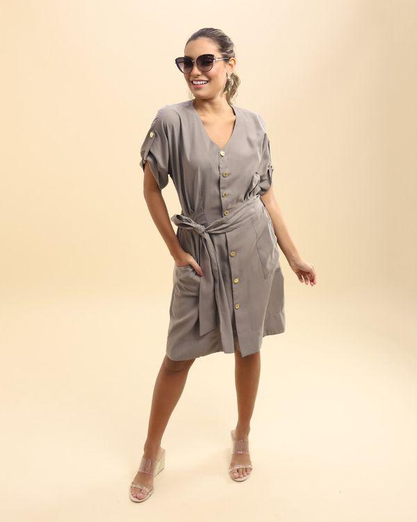 Vestido-Tecido-Frente-com-Pregas-e-Faixa-Caqui